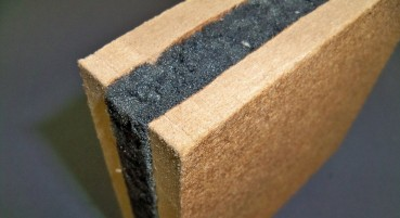 Recycled wood fibres and PUR material