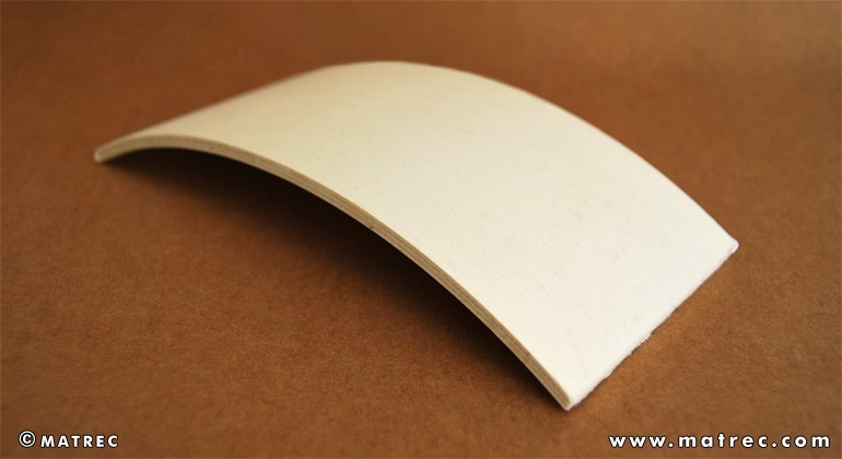 Curved panels made of recycled paper