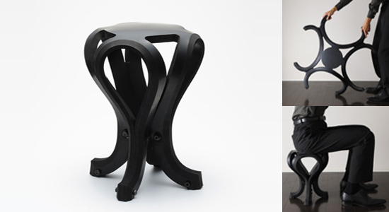 Name: Rubber Stool Material: recycled rubber Company: h220430 Country: Japan