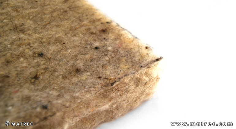 Flexible panel made of sheep wool