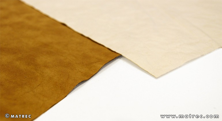 Material made of recycled paper and latex