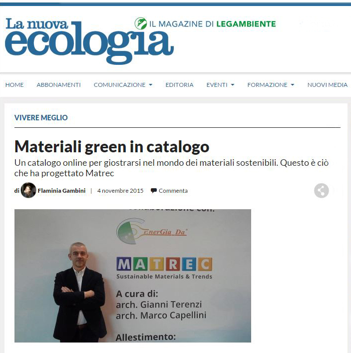 Materiali green in catalogo