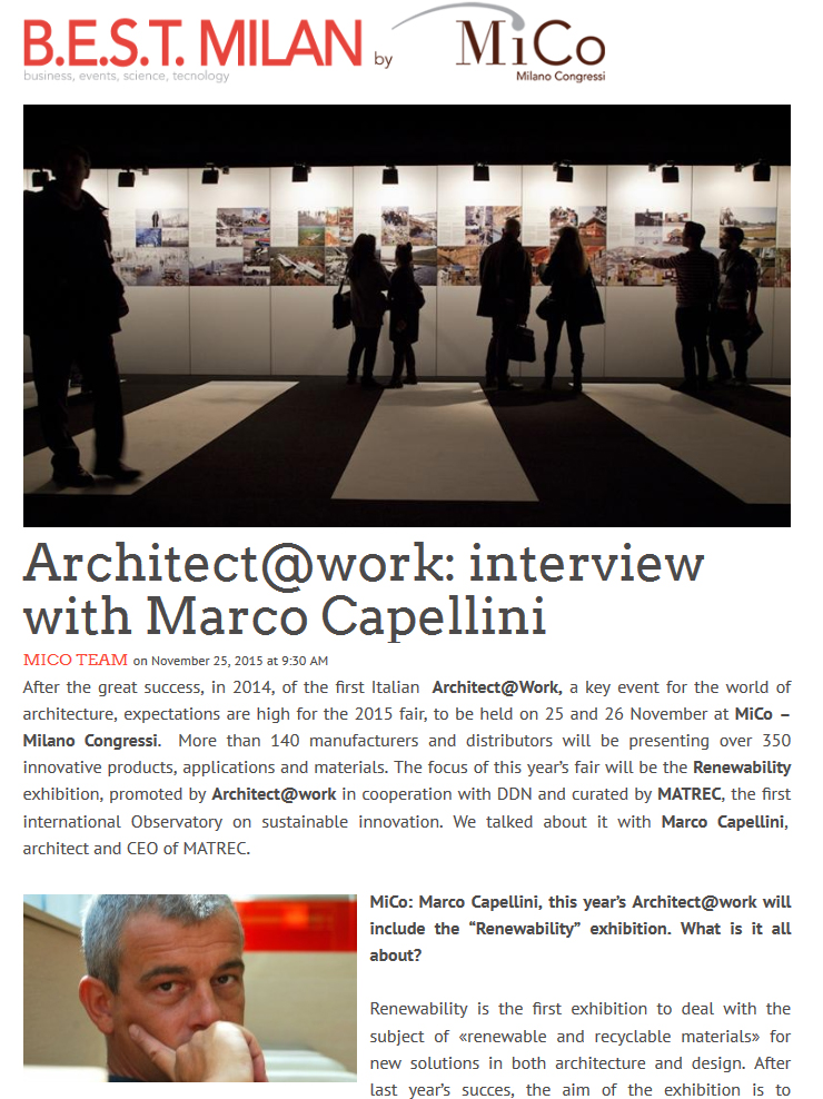 Architect@Work: interview with Marco Capellini