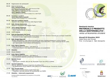 Seminario materiali e prodotti della sostenibilità – Bari 3 Dicembre 2015