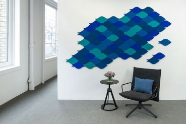 Wool felt and PET for a new acoustic tiles collection