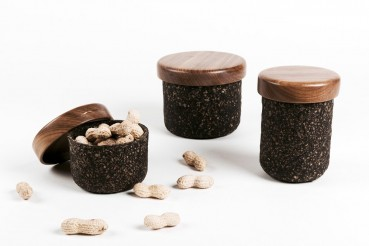 New collection of containers made of coffee grounds and newspaper waste