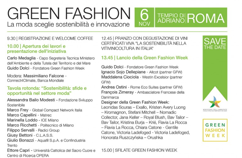 GREEN FASHION WEEK: Tavola rotonda, Roma 6 novembre 2017