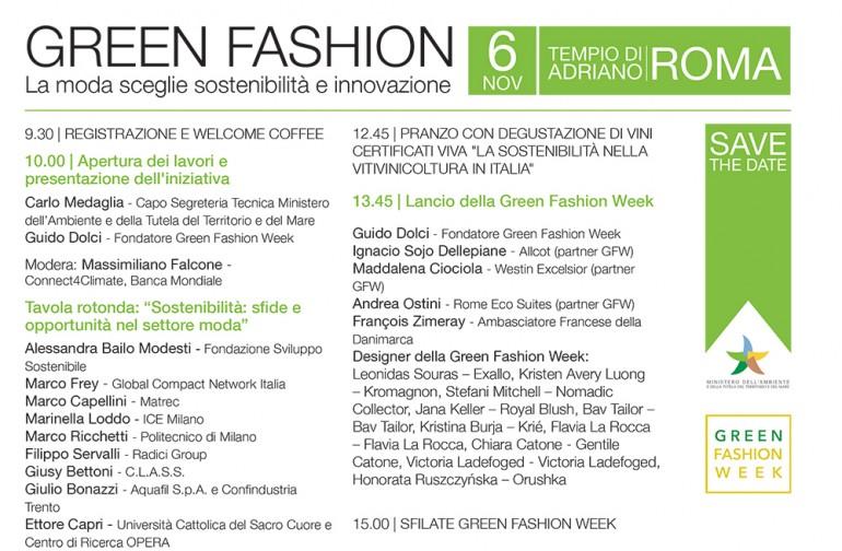 GREEN FASHION WEEK: Tavola rotonda, Roma 6 novembre 2017