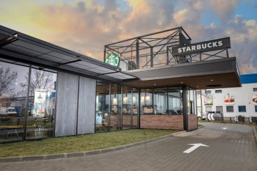 Debris from construction used for a Starbucks shop