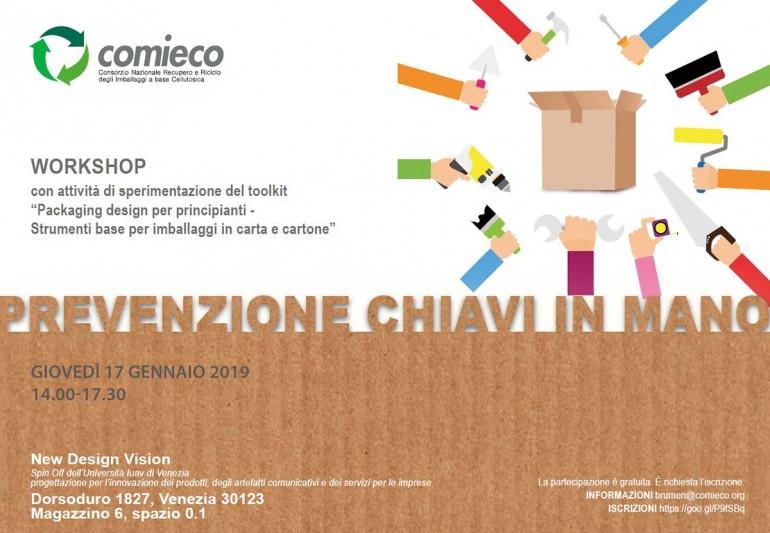 """Workshop """"Strumenti base per imballaggi in carta e cartone"""" in collaborazione con Comieco e New Design Vision"""