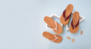 Flip flops made of recycled cork