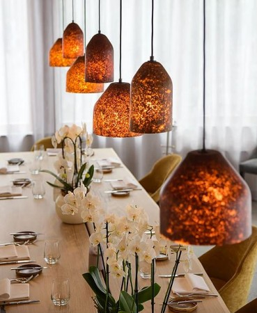 A collection of lamps made with leaves