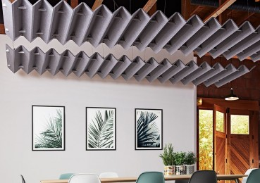 Acoustic ceiling system made from recycled materials