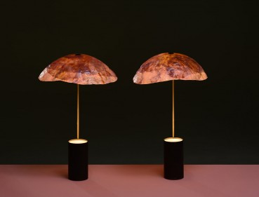 Lamps made with red cabbage leaves