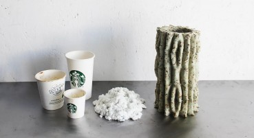 Vases in recycled paper and mycelium