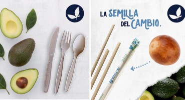 Disposable straws and cutlery in bio-plastic based on avocado seeds