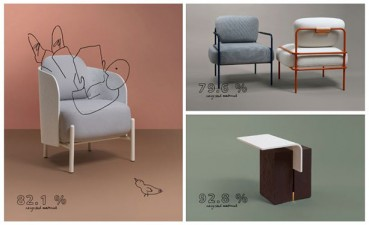 Design furniture collection in recycled materials