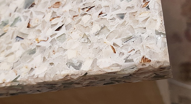 Recycled glass sheet