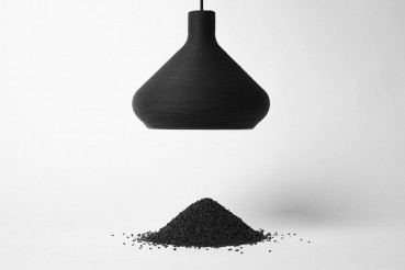 Suspension lamp made of plastic from production waste