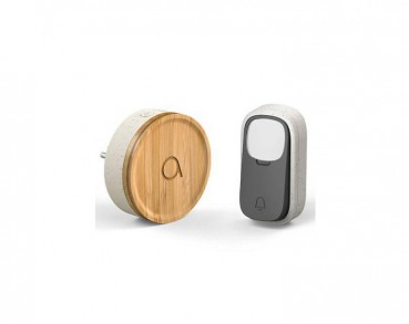 Wireless and battery-free doorbell made of bamboo and recycled plastic